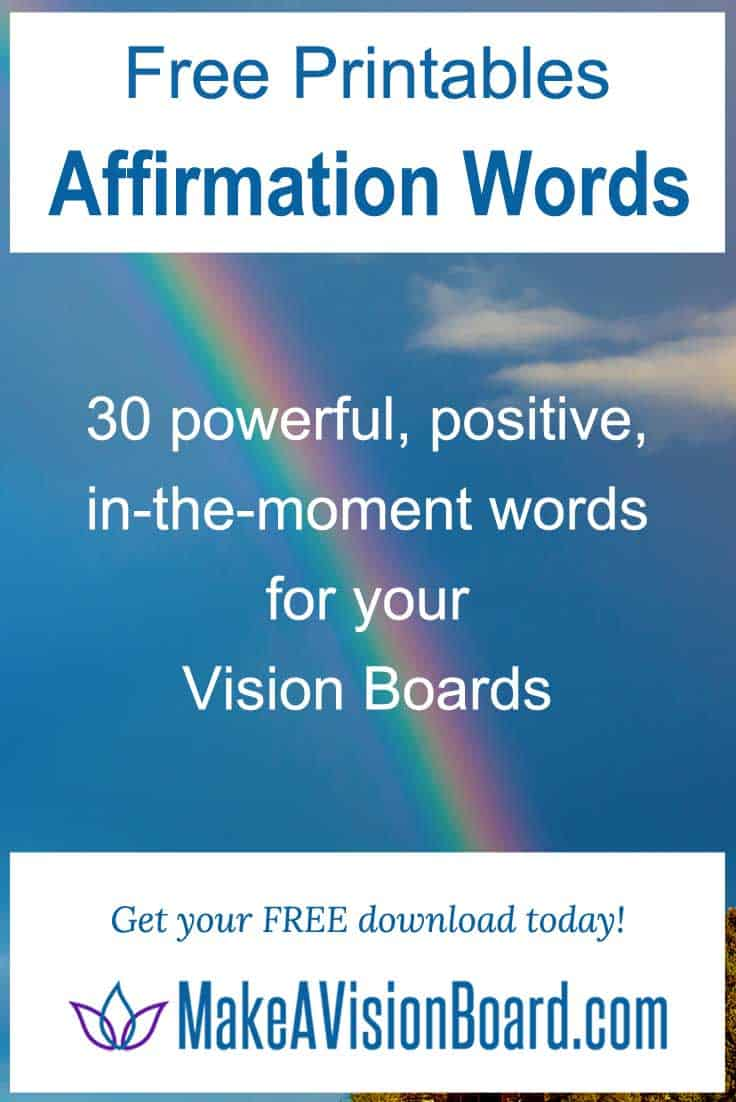 Affirmation Words - Free Printables for your Vision Boards and Affirmation Boards