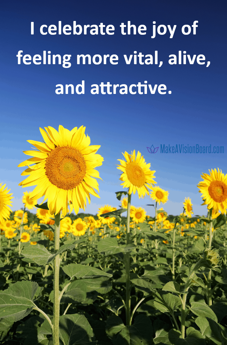 Weight Loss Affirmations: I celebrate the joy of feeling more vital, alive and attractive. See them all at MakeAVisionBoard.com