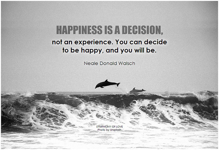 Neale Donald Walsch Happiness is a decision, not an experience... Photo by BK on flickr - https://www.makeavisionboard.com/being-happy/