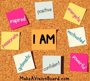 I Am Affirmations Board - find out more at https://www.makeavisionboard.com