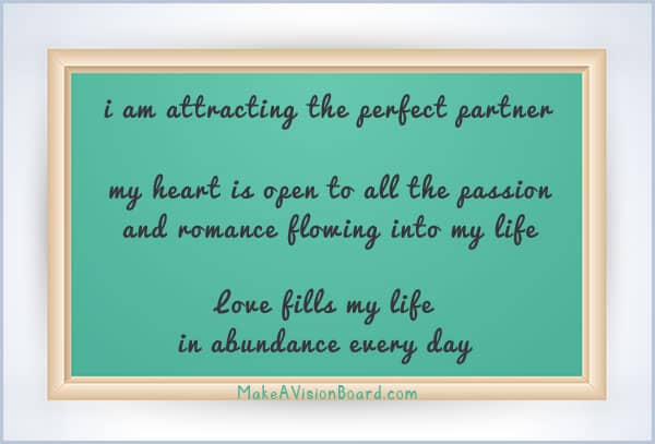 Affirmation Board for Love - see more & learn more at https://www.makeavisionboard.com