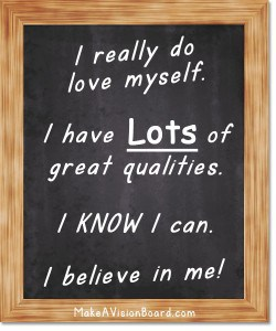 Affirmation Board - I believe in me - see how to choose your thoughts wisely at https://www.makeavisionboard.com