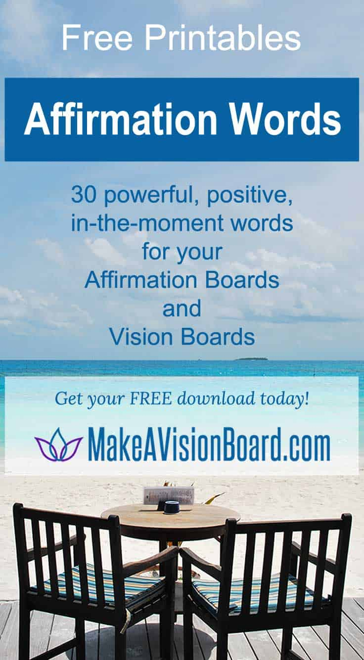 Affirmation Words - Free Printables from MakeAVisionBoard.com