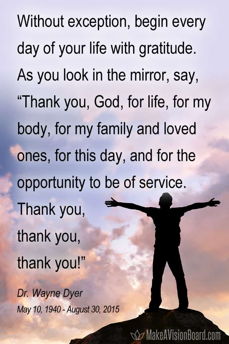Quote about gratitude by Dr. Wayne Dyer