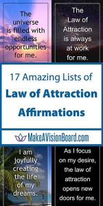 17 Amazing Lists of Law of Attraction Affirmations from MakeAVisionBoard.com