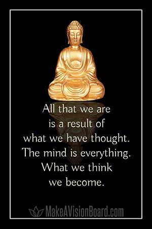 Law of attraction quote, Buddha - All that we are is a result of what we have thought.