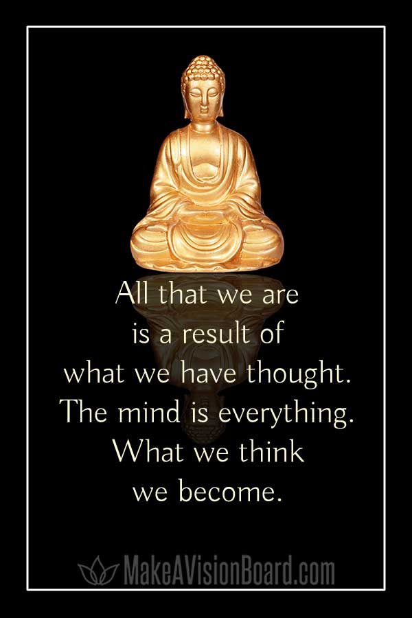 Law of attraction quote, Buddha - All that we are is a result of what we have thought...
