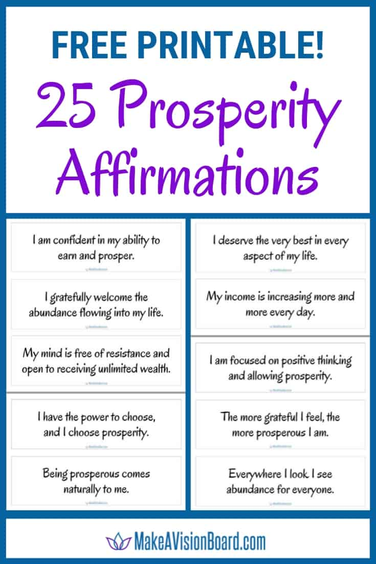 Free Printable Prosperity Affirmations from MakeAVisionBoard.com