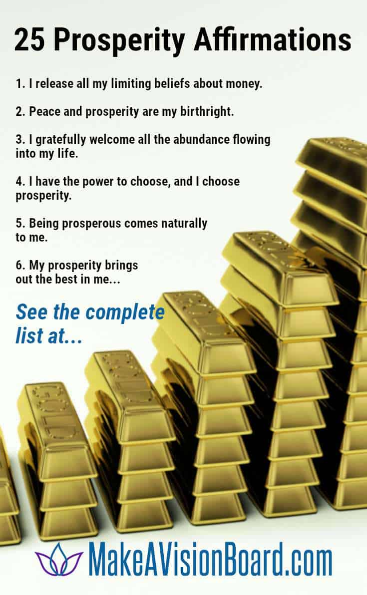 Prosperity Affirmations - 25 affirmations for wealth and abundance at MakeAVisionBoard.com