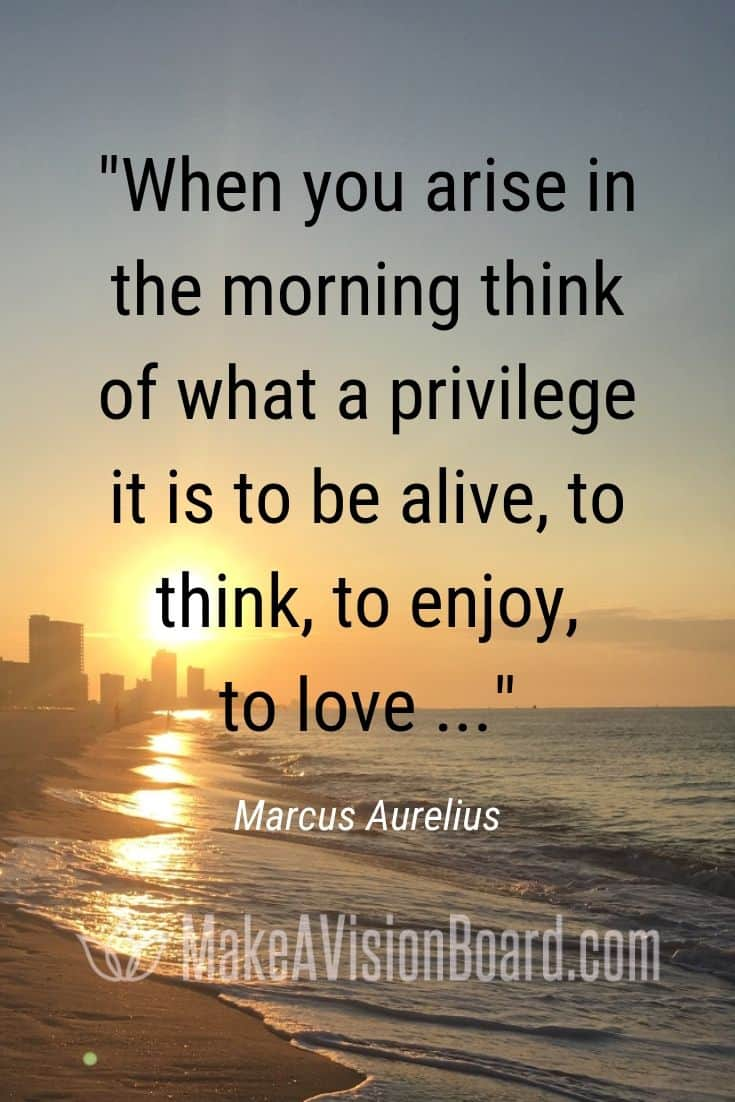Marcus Aurelius quote about being grateful, 'When you arise in the morning...'