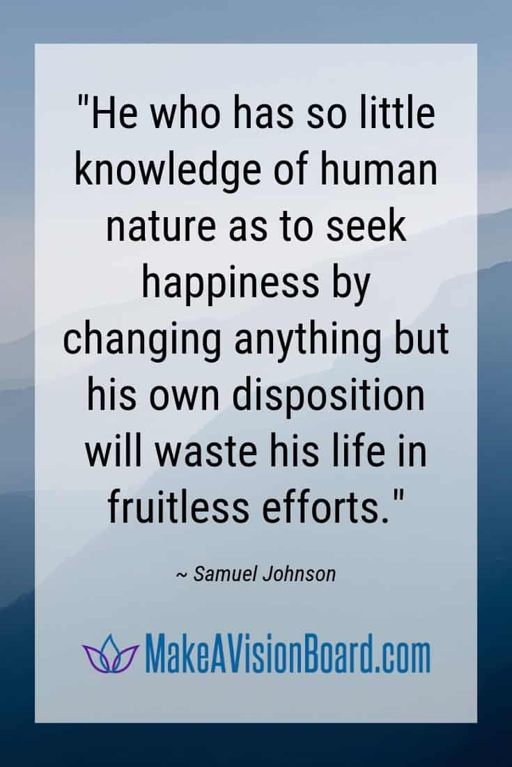 Samuel Johnson quote on positive disposition - MakeAVisionBoard.com
